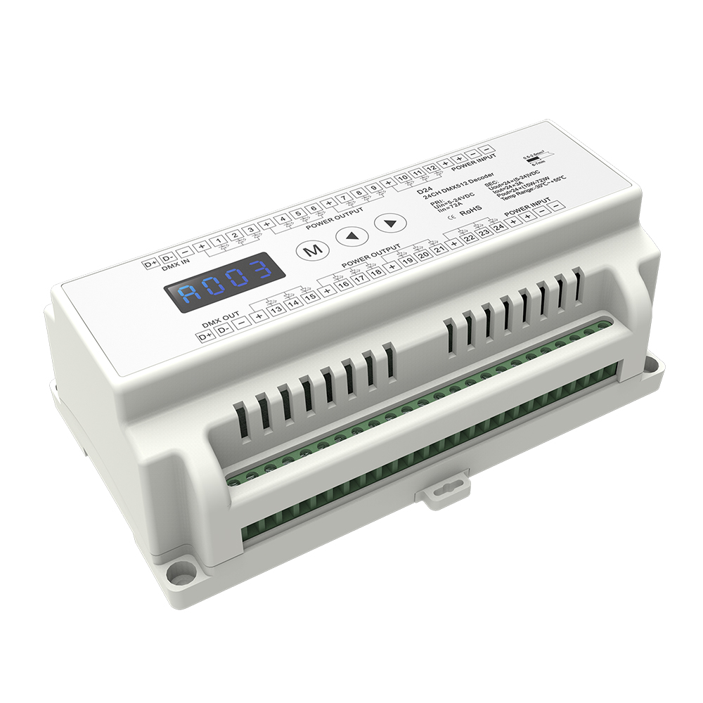 Promotion!!! 24 Channel CVDMX512 Decoder;DC5-24V input;3A*24CH output with display for setting dmx address mokungit 24ch easy dmx512 rgb decoder dimmer controller ws24luled dc5 24v 24 channel 8 group each channel max 3a