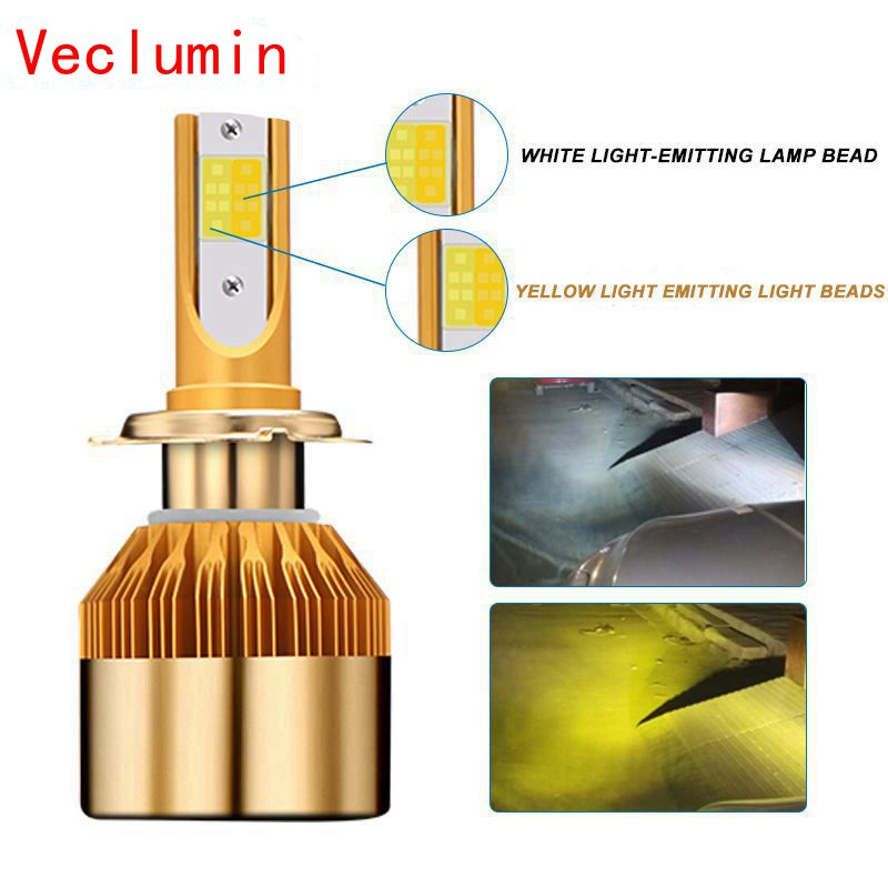 H4 H7 Led Bulb Headlight 12V H8 H1 H3 9005/HB3 9006/HB4 H27/880 Car-styling LED Dual Car Bulb 3000K 6000K 38W 9600LM Fog Light image