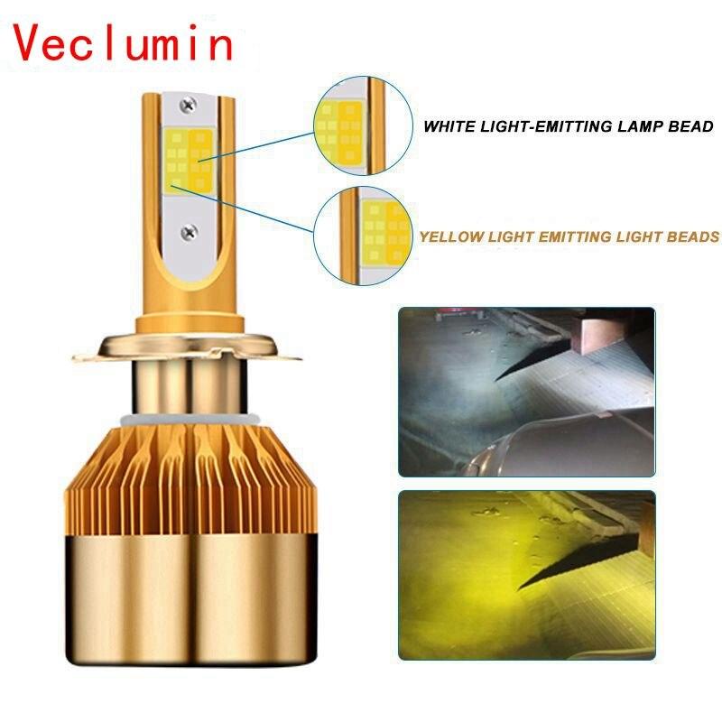 H4 h7 conduziu o bulbo do farol 12 v h8 h1 h3 9005/hb3 9006/hb4 h27/880 carro-estilo conduziu a lâmpada dupla do carro 3000 k 6000 k 38 w 9600lm luz de nevoeiro