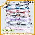 2396 Colorido Unisex Metade aro retângulo Ultem óculos ópticos óculos de armação de Metal óculos de miopia eyewear