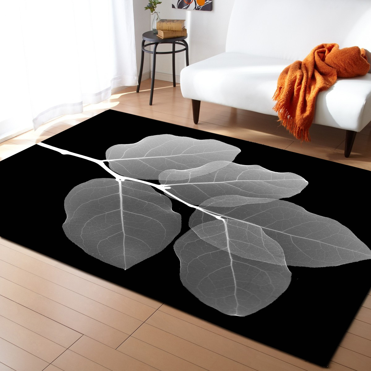 DeMissir 3D feuilles noir Rectangle grand salon tapis tapetes bape tapis alfombra tapis de sol teppich tapete criativo usage domestique