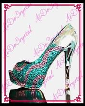 Aidocrystal brand shoes woman luxury paillette crystal high heels summer shoes fashion peep toe ladies high heel shoes