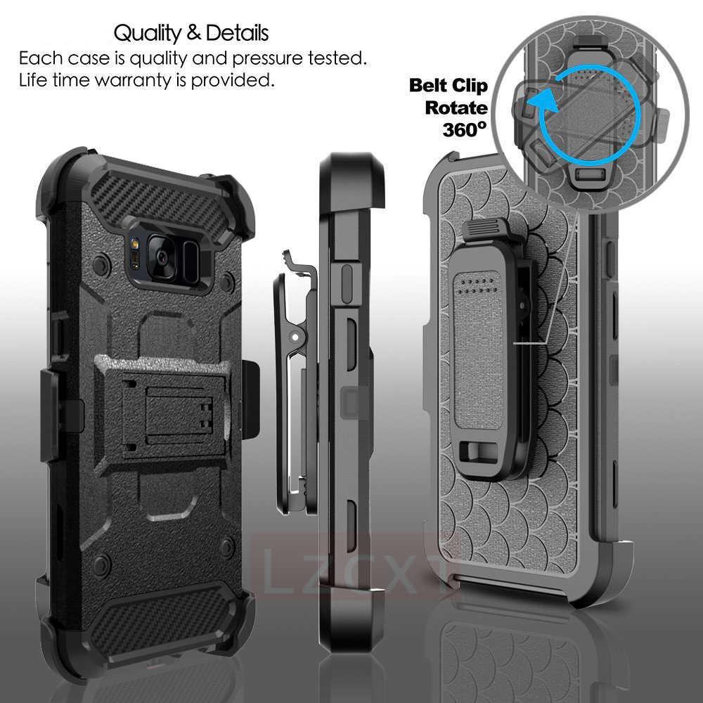 Luxus 360 Volle Rüstung Fall Für Samsung S10 Plus E S9 S8 Hinweis 10 9 8 Silicon Military Grade Im Freien schutz Gürtel Clip Abdeckung