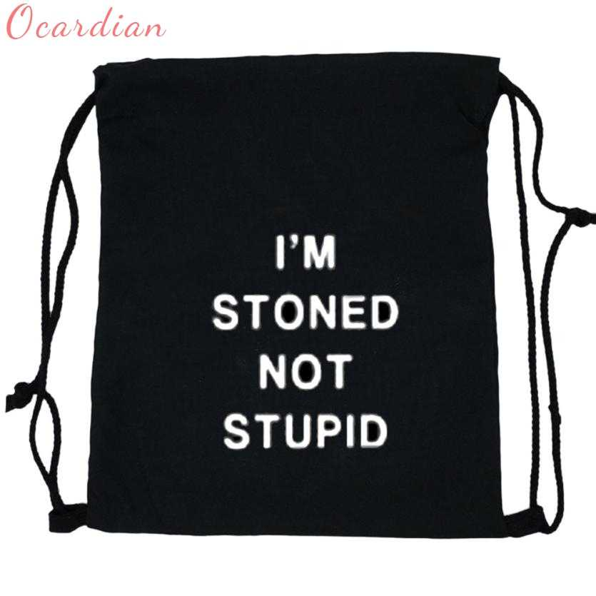 e352ea9846fd Ocardian backpacks Chains Backpack Solid Bag Mochila Unisex Letter Print 3D  Printing Drawstring I am stoned
