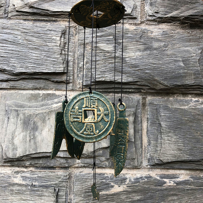 2 sonneries anciennes pièces carillons à vent en fonte décoration suspendue cour jardin porche intérieur extérieur vent carillon cloche Verdigris Antique
