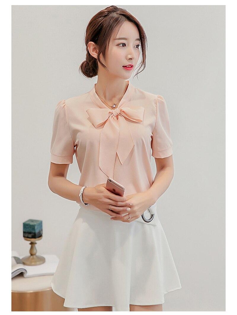 Women Spring short sleeve   blouse     Shirt   women Summer Top V Neck Short Sleeve Loose Chiffon   Shirt   2XL