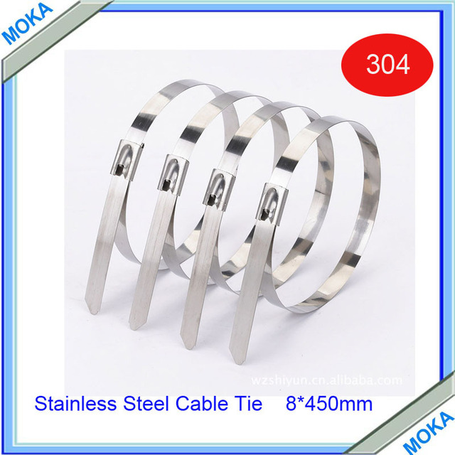 Free Shipping High Quality 100pcs/lot 8*450mm Ball Lock Stainless Steel Cable Tie Uncoated Cable Ties Thickness 0.25mm
