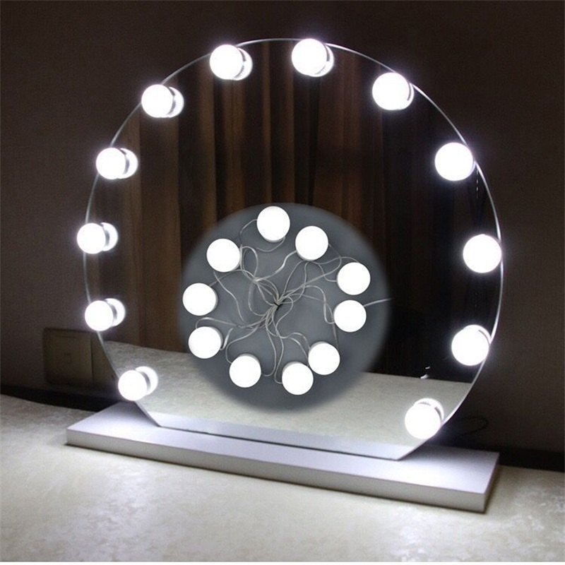 <font><b>10</b></font> Bulb USB Night <font><b>Lamp</b></font> <font><b>LED</b></font> Vanity <font><b>Mirror</b></font> Lights Kit with Dimmable Light Bulbs Lighting Fixture Strip for Makeup Vanity Table <font><b>Set</b></font> image