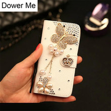 Dower Me Crown Butterfly Diamond Leather Case For iPhone X 8 7 6 6S Plus 5 5C Samsung Galaxy S9/8/7/6 Edge Plus S5 Note 8 5 4 3
