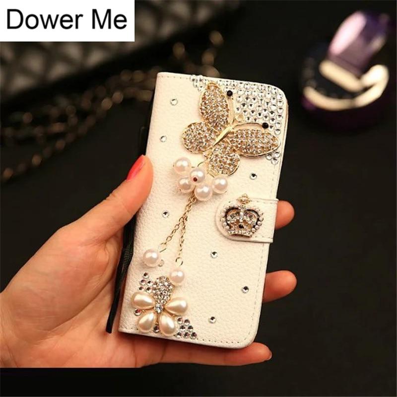Dower Me Crown Butterfly Diamond Carcase de piele pentru iPhone X 8 7 - Accesorii și piese pentru telefoane mobile