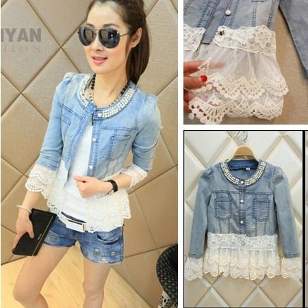 Elegant Beading Pearl   Jacket   Women Denim   Jackets   Casual Short   Basic     Jacket   Slim Jean Lace   Jackets   Plus Size 3XL