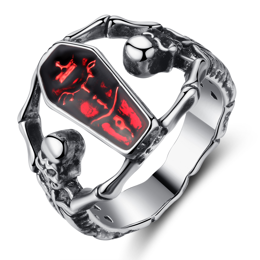 Cinily Jewelry Skeleton Party-Ring Silver-Plated Size-6-9 Fashion Women for NJ83 Red
