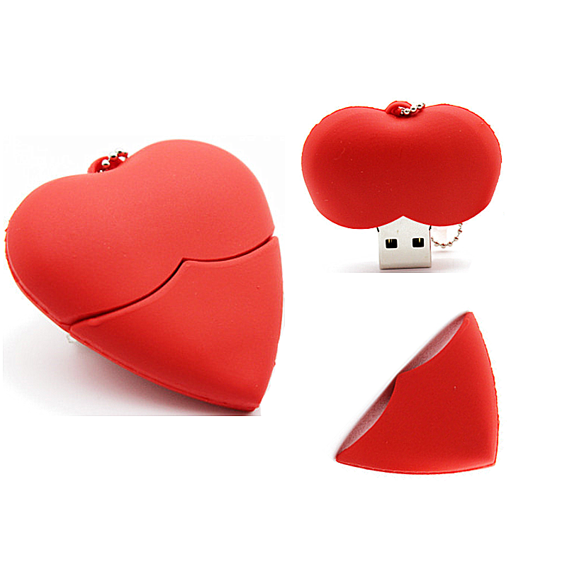Usb Flash Drive 32GB 16GB Lovely Love Heart Pen Drive Usb 2.0 Pendrive 64GB 128GB 8GB 4GB Flash Drive Memory Stick Free Shipping