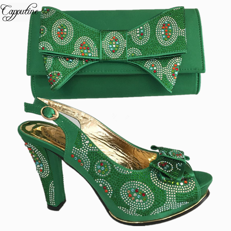 Capputine Latest African Rhinestone Green Color Shoes And Bag Set Italian Pumps Shoes And Bags To Match Set For Party BL675C high quality heels pumps shoes african design women shoes and bag set to match italian shoes with matching bags set me3316