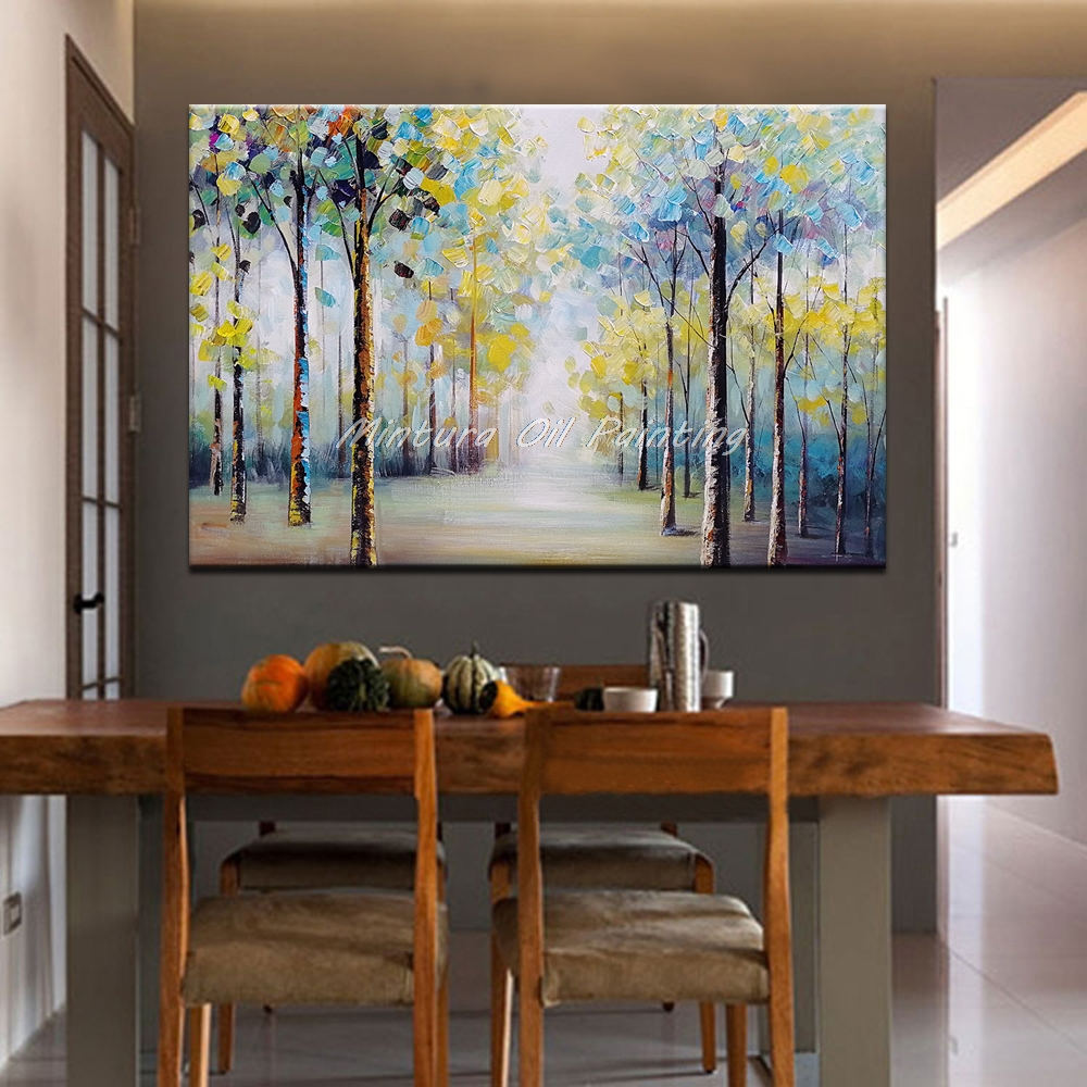 Mintura Art Большой размер Ручная роспись деревья пейзаж картина маслом на холсте настенные художественные картины для гостиной домашний Декор без рамки