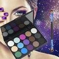 15 Tierra Color Mate Glitter Eyeshadow Palette Cosmetic Set de Maquillaje Paletas de sombras de Ojos Con 1 Sombra de Ojos Cepillo de Doble Extremo