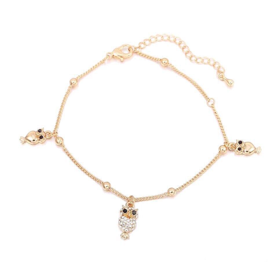 MxGxFam ( 22 cm +6cm ) Fashion Animel Owl Crystal Charms Summer Anklet Bracelets For Women Gold Color 18 k / White