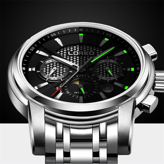 LOREO Waterproof Men Watch Stainless Steel Skeleton Watches Luminous Mechanical Wristwatch Men Clock Relogio Montre K55