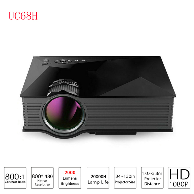 UC68H Mini Led Projector Proyector 2000 Lumens UC46 Upgrade Video Projetor 800x480 WIFI Support Miracast LED Home Cinema Beamer