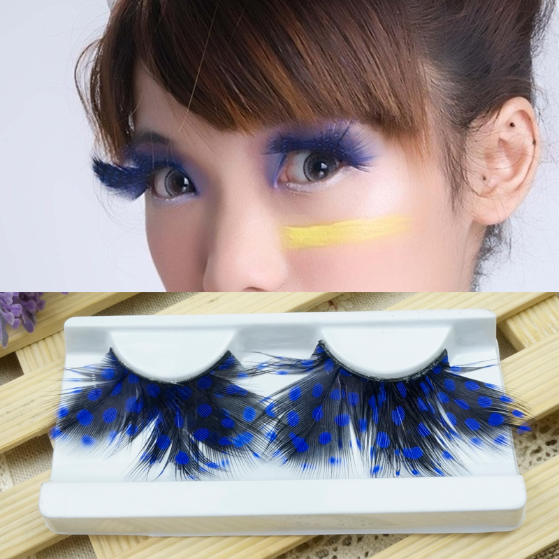 1 Pairs Blue 3D Feather Exaggeration Party Stage Masquerade False Eyelashes Cross Thick Natural False Eye Lashes M180