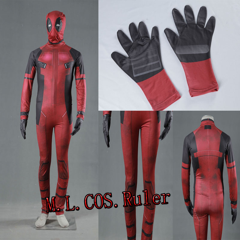 2017 HOT Superhero Movie COS  X-men Deadpool Cosplay Costume Jumpsuits+Gloves+Mask Any Size Stretchy Unisex Any Size