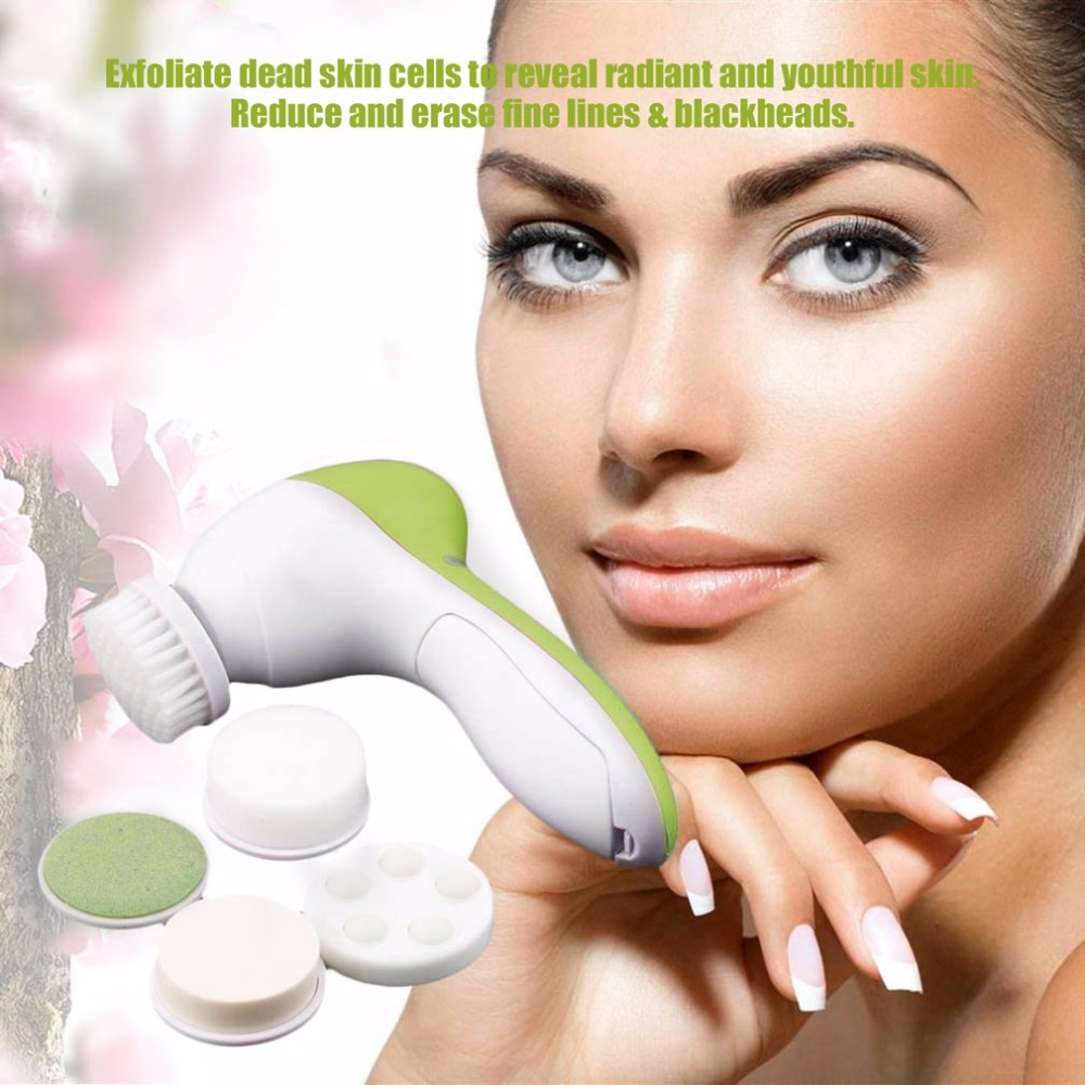 5-in-1 Electric Facial Cleanser Body Massage Mini Skin Pore Cleaner Beauty Massager Wash Face Machine