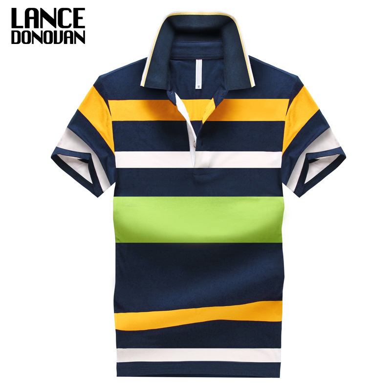 92% Cotton camisa Men Polo Shirt  2019 Casual Striped Slim short sleeves ASIAN SIZE M 4XL-in Polo from Men's Clothing