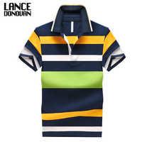 92% algodón camisa de Polo para hombre 2015 Casual rayas delgadas mangas cortas talla asiática M-4XL