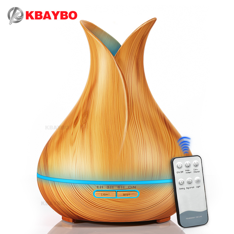KBAYBO Ultrasonic Air Humidifier 400ml Aroma Essential Oil Diffuser With Wood Grain 7 Color Changing LED Lights For Office Home