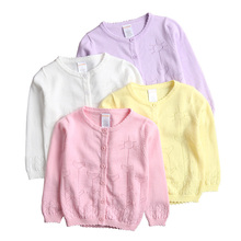2017 Baby Girls Cardigan Coat Children Sweater Pullover Spring/Autumn Long-Sleeve Hollow Knit School Girl Sweater 12M-9Y DQ455