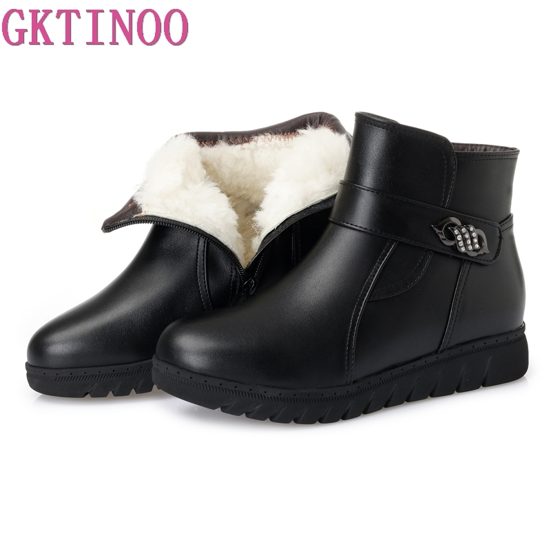 GKTINOO Plus size(35-43) winter women genuine leather wedges snow boots wool fur ankle boots warm shoes women boots