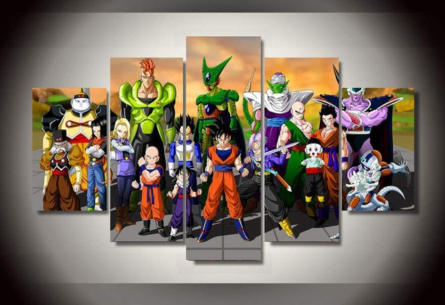 5 piece canvas art cartoon dragon ball group painting wall art decoration for home print film