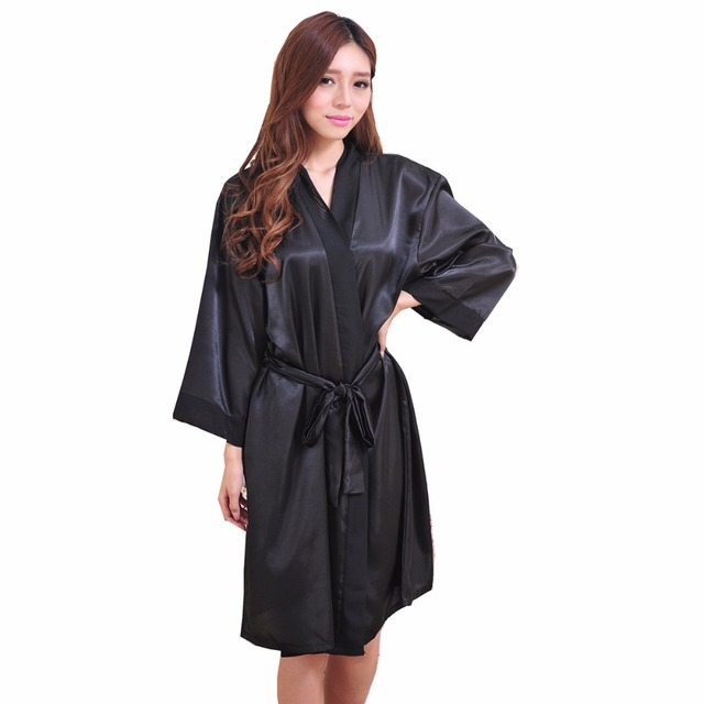 Black Women's Bath Robe Faux Silk Kimono Lady Gown Yukata Sleepwear Nightgown Sleepshirts Mujer Pijama Plus Size Ftg02