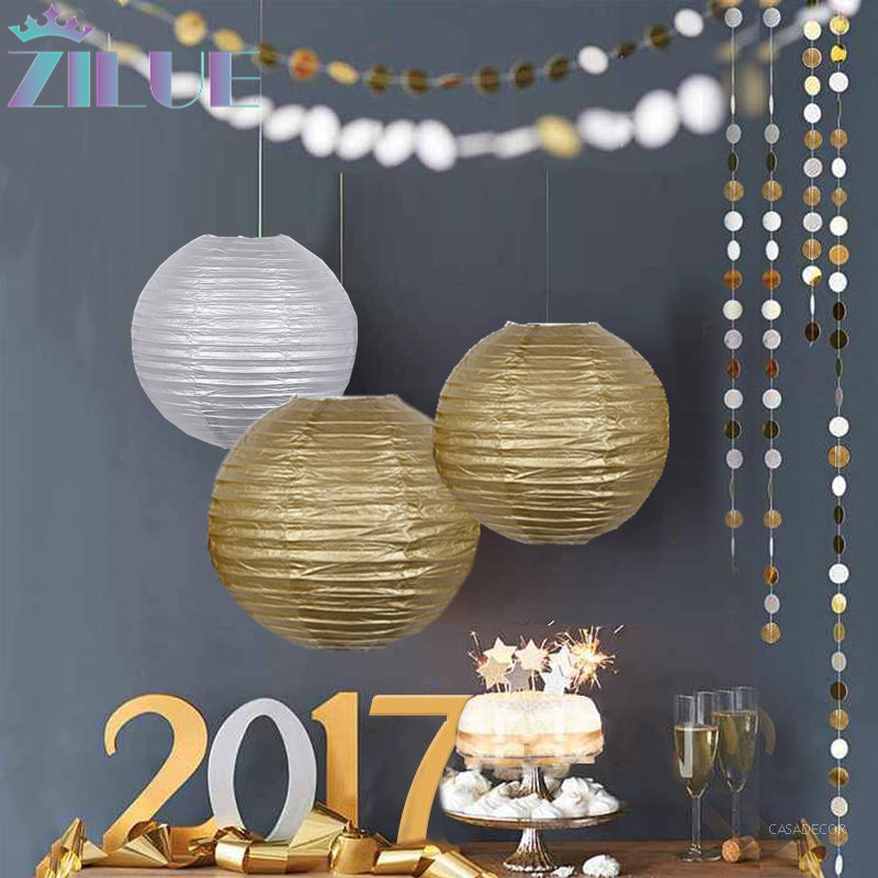 Paper Lanterns Wedding Decoration Ideas: Hot Sale!5pcs/lot Wedding Decoration Paper Lantern Gold
