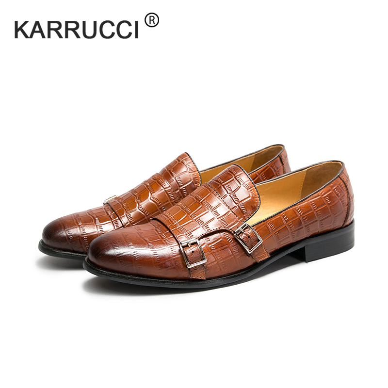 KARRUCCI Mens Shoes Dress Monk-Strap Handmade Wedding Business Party Calf for Footwear