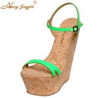 Moda Cunei Piattaforma Sandali Delle Donne Degli Alti Talloni del Cuneo Verde Rosa Blu scarpe di Cuoio Scarpe Partito Estate Suola In Legno Taglia 9 10 16