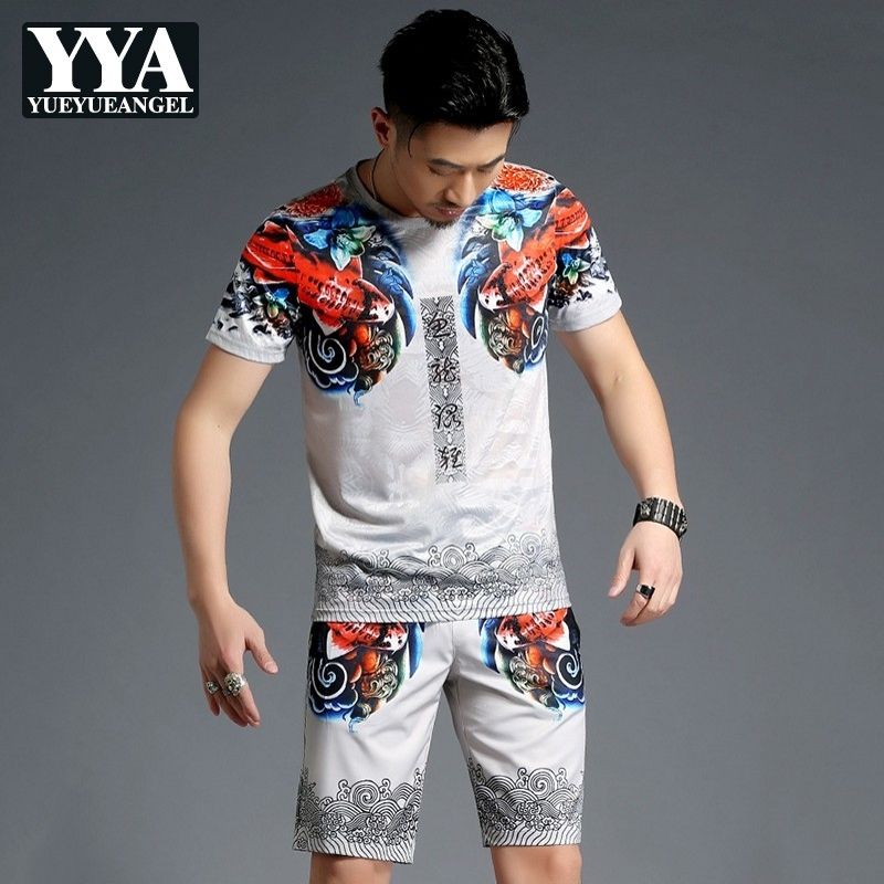 2019 Casual Tracksuit Two Piece Sets Mens Summer Shorts Suit Hip Hop Printing Men 2pcs Set Fashion Chinese Style Large Size 4XL