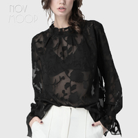 OL style Plus size black white sexy transparent lace floral chiffon tops and blouses shirt tie cuff camisa blusa feminina LT2060