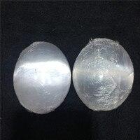 1pcs natural stones and minerals white gypsum ellipsis shape tumble stone Palm play stone polished gemstone for home decoration