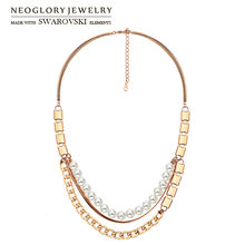 Neoglory Simulated Pearl Long Pendant Charm Double Chains Necklace Round Ball Design Women Sweater Gift For Classic Holiday(China)