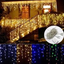 Karácsonyi fények Kültéri díszítés 4.5m Droop 0.4-0.6m Led Curtain Icicle String fények Kert Xmas party Dekoratív fények