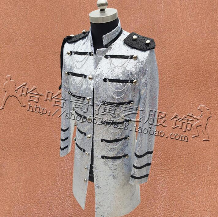 Multi breasted Kleding Mannen Pailletten Suits Ontwerpen Podium Kostuums Voor Zangers Jas Heren Blazers Dance Ster Stijl Zwart Zilver - 4