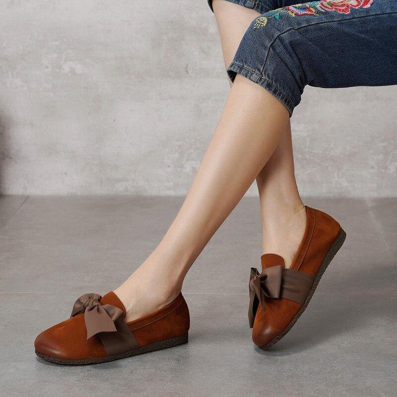 2019 printemps grand arc femmes chaussures plates en cuir de vachette Original chaussures plates pour femme bout rond sans lacet femmes mocassin chaussures