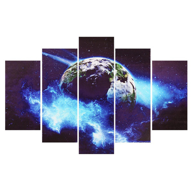 Abstract Earth Universe Outer Space Wall Art Canvas Painting Home ...