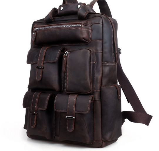 New Fashion Genuine Leather Large Capacity Male Backpacks Retro European Style Travel Shoulder Bag Casual College Schoolbag C195