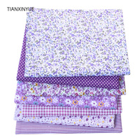 TIANXINYUE 7 pcs/lot Purple color fabric 100% Cotton Fabric for Sewing Patchwork Kids Bags Baby toy DIY Fabric