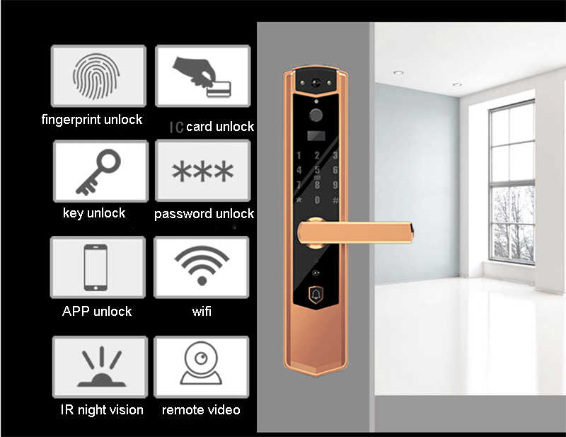 Smart Fingerprint Password Electroic Lock With WIFI Door Camera Viewer Remote Video Calling APP Remotely Unlock IR Night Vison D