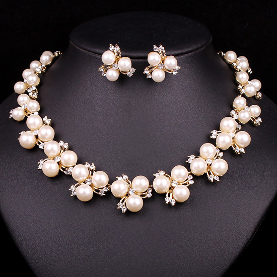 New Fashion Women Pearl Necklace Earring Set Gold Plating Wedding Bridal Jewelry For Brides Bridesmaids