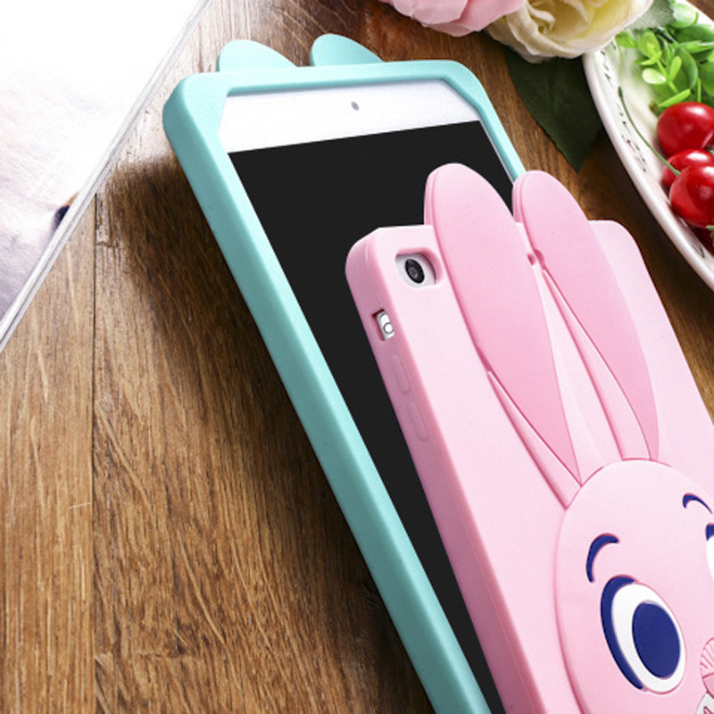 Tablet Case For ipad 2017 9.7 inch Cute Cartoon Rabbit Kids Shockproof Silicone Rubber Stand Back Cover For ipad 2018 Case  (8)