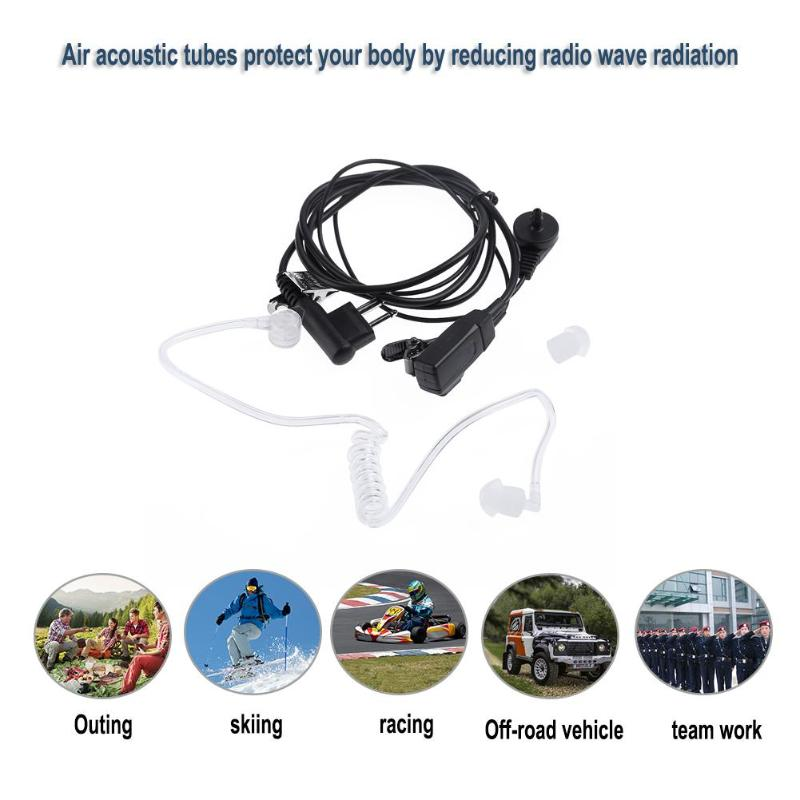 ALLOYESSD M-Type Plug 2 Pin In-ear Earphone Air Tube Mic Earpiece Radiation Protection Headset For Motorola GP300 Two Way Radios